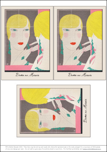 Download - Dame au Miroir - Postcards Framed