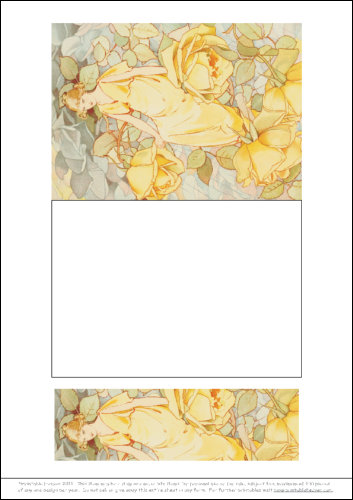 Download - Notelet and Bookmark - Yellow Rose