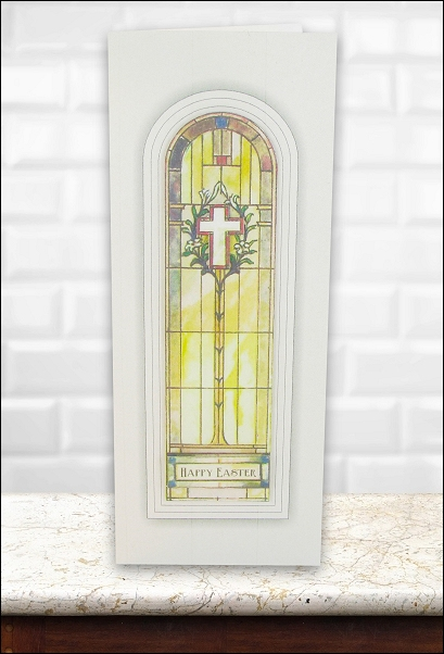 Project - Stained Glass Cross & Lilies Easter card