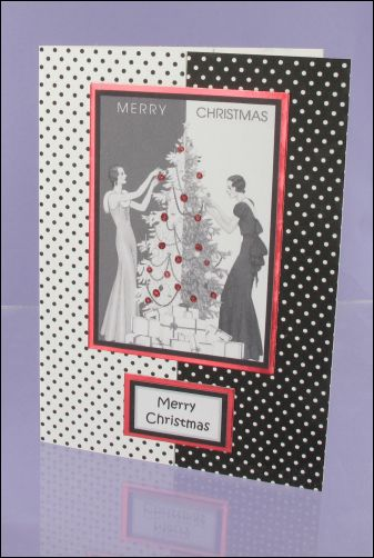 Project - 30s Ladies Polka Dot Christmas card