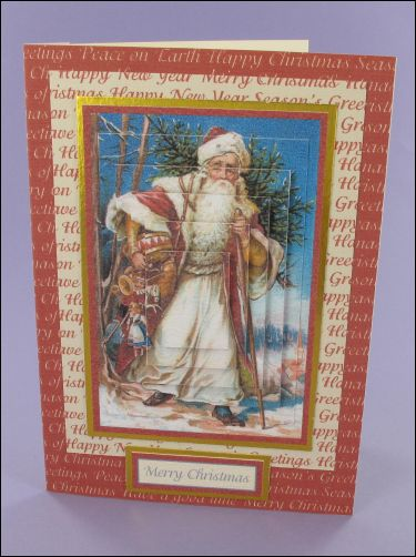 Project - Santa with Drum pyramage card