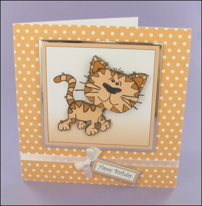 Project - Whiskers Square Decoupage Card
