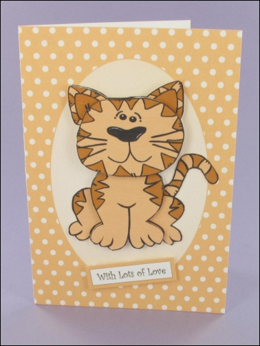 Project - Whiskers Oval Panel Decoupage Card
