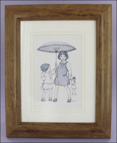 Project - Parasol Girls framed postcard