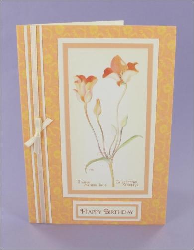 Project - Orange Mariposa Tulip Birthday card
