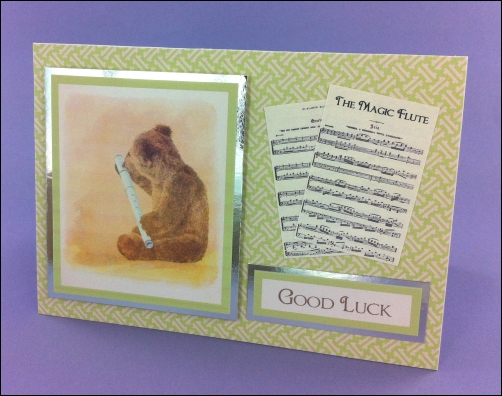 Project - Bear with Flute Good Luck card