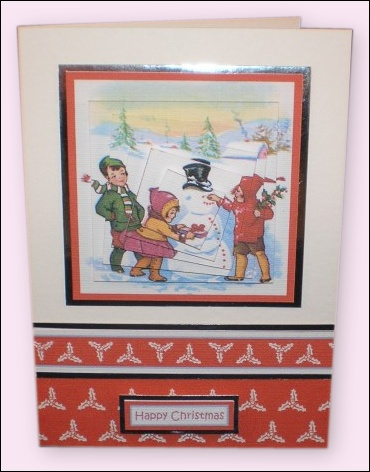 Project - Snowman with Red Buttons Twisted Pyramage card