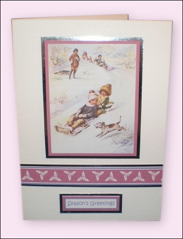 Project - Children with Sledge motif card